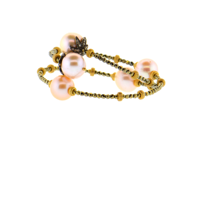 Pink Potato Pearl & Diamond Bracelet with Hand-Set Hematite