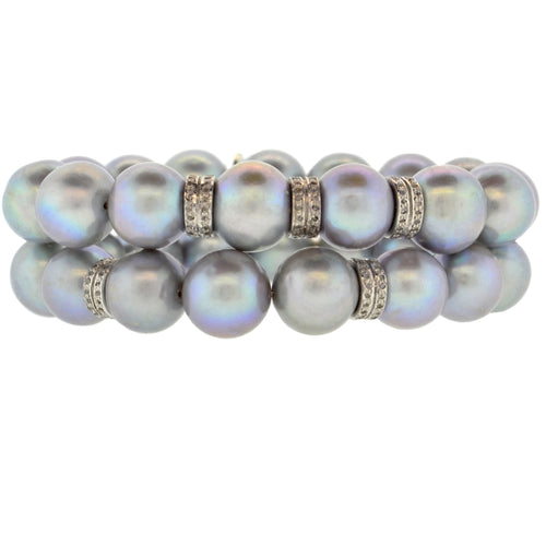 Gray Potato Pearl & 2 Double Diamond Rondelle Bracelet