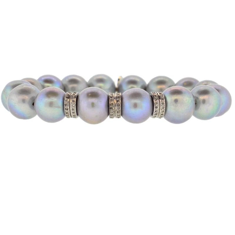 Gray Potato Pearl & 3 Double Diamond Rondelle Bracelet