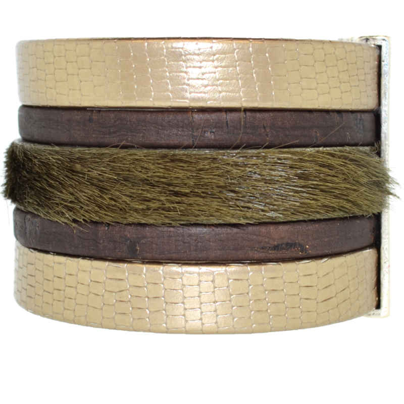 Bronze Shimmer Leather Namibia Cuff with Khaki Hide