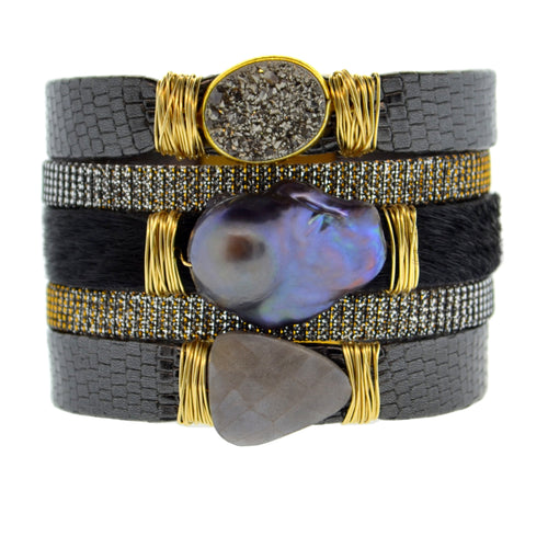 Gemstone Namibia Cuff with Black Leather & Black Hide