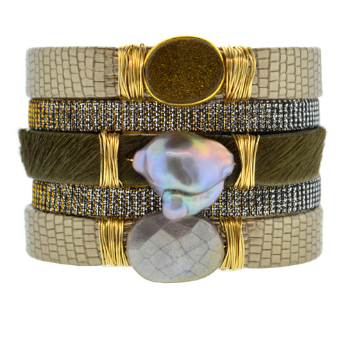 Gemstone Namibia Cuff with Bronze Leather & Khaki Hide