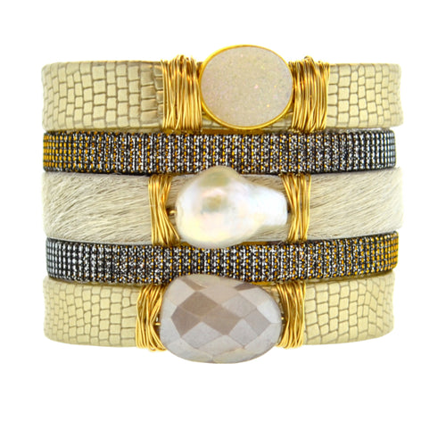 Gemstone Namibia Cuff with Gold Leather & White Hide
