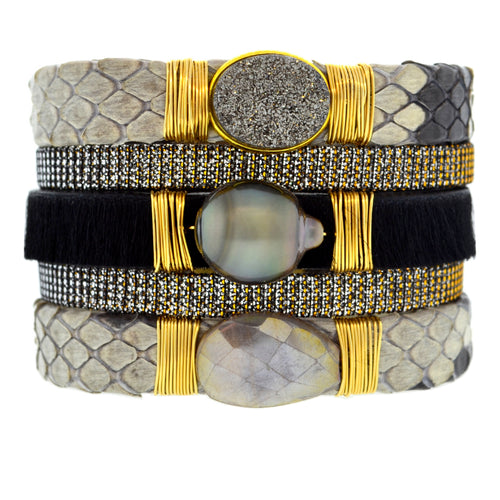 Gemstone Namibia Cuff with Black Python & Black Hide