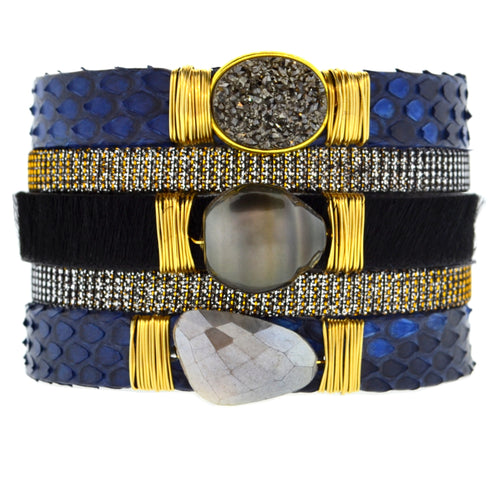 Gemstone Namibia Cuff with Denim Blue Python & Black Hide