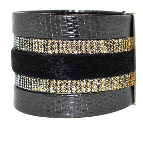 Black Shimmer Leather Namibia Cuff with Black Hide