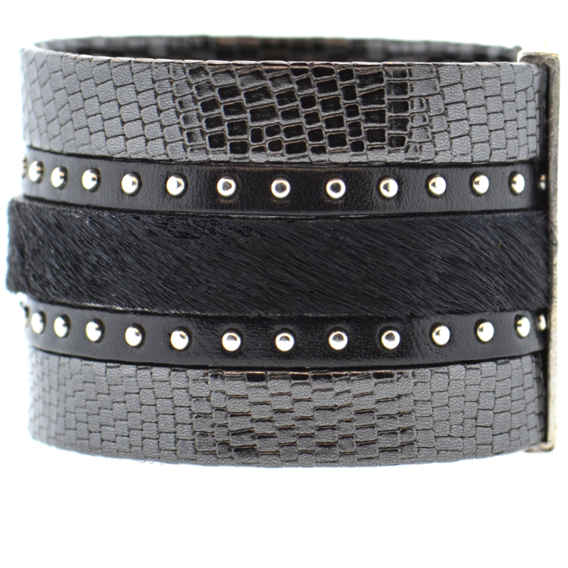 Black Shimmer Leather Namibia Cuff with Studs & Black Hide