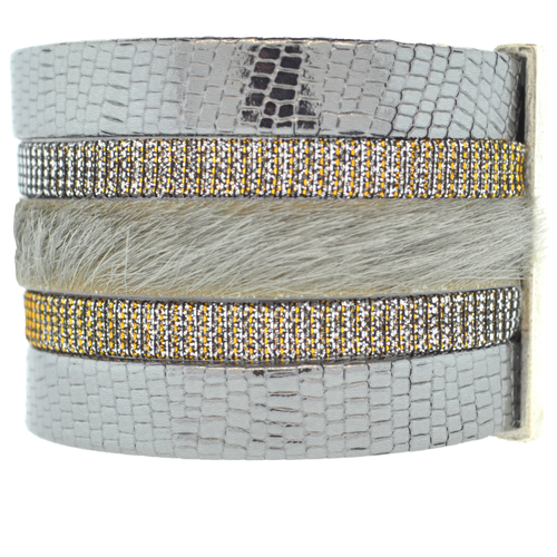 Charcoal Shimmer Leather Namibia Cuff with Gray Hide