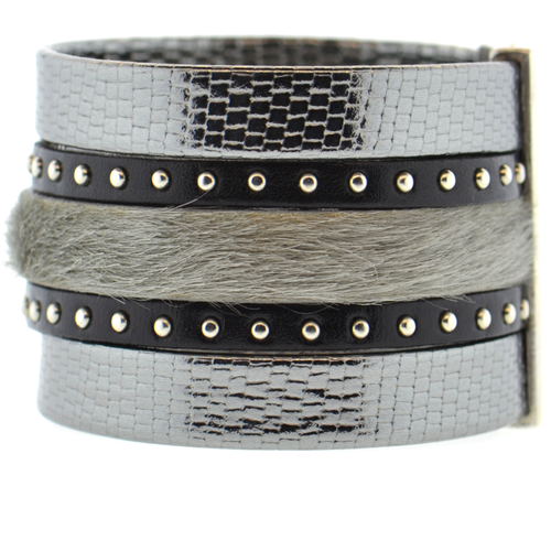 Charcoal Shimmer Leather Namibia Cuff with Studs & Gray Hide