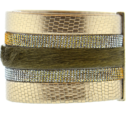 Gold Shimmer Leather Namibia Cuff with Khaki Hide
