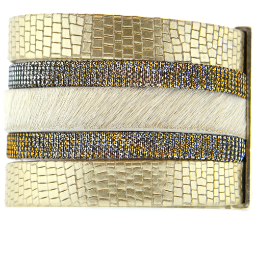 Gold Shimmer Leather Namibia Cuff with White Hide