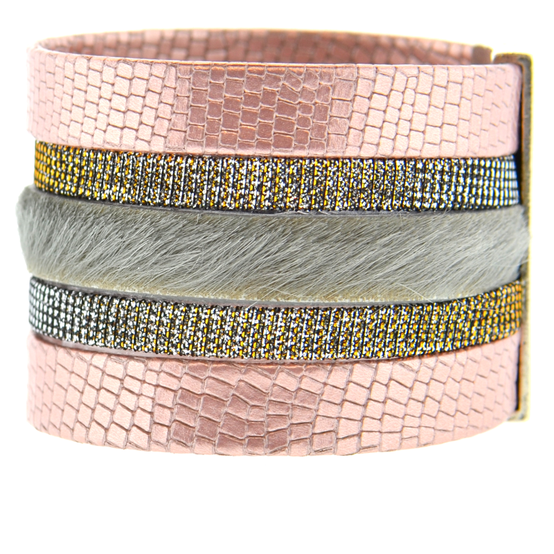 Pink Shimmer Leather Namibia Cuff with Gray Hide