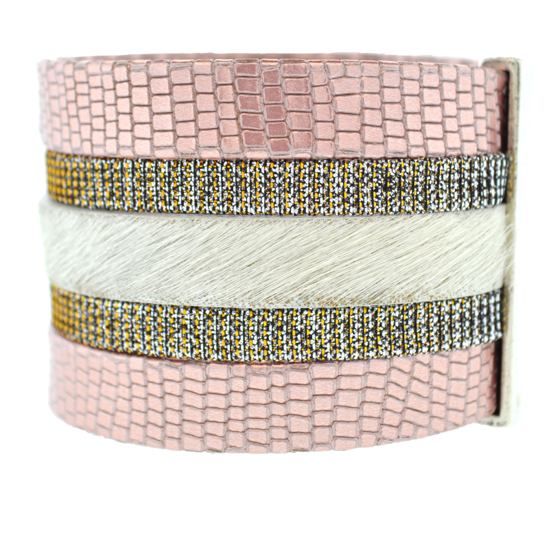 Pink Shimmer Leather Namibia Cuff with White Hide