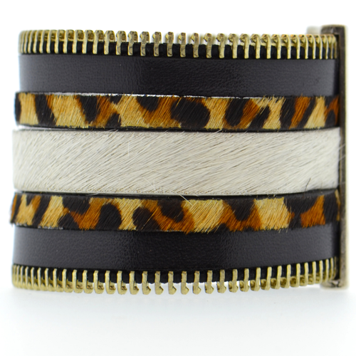 Black Zip Leather Namibia Cuff with Animal Print Hide
