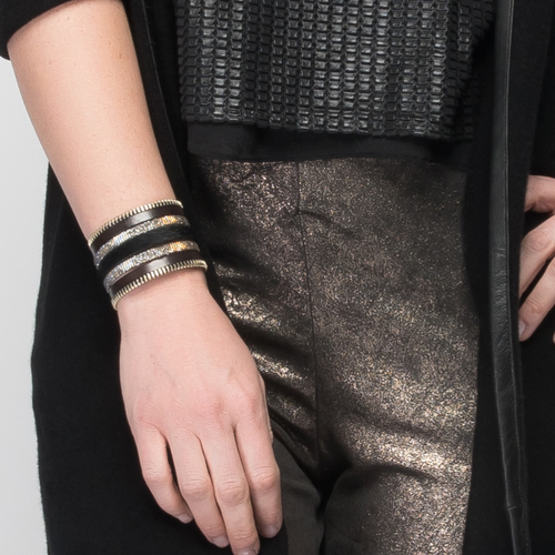 Black Zip Leather Namibia Cuff with Black Hide