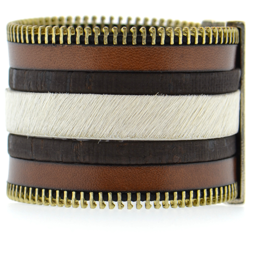 Brown Zip Leather Namibia Cuff with Brown Cork