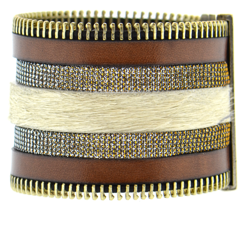 Brown Zip Leather Namibia Cuff with White Hide