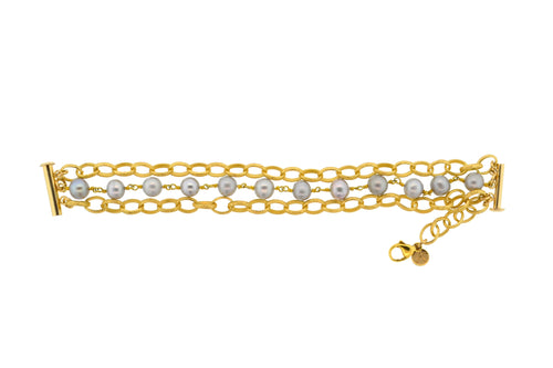 Gold & Gray Potato Pearl 3-Strand Paris Bracelet