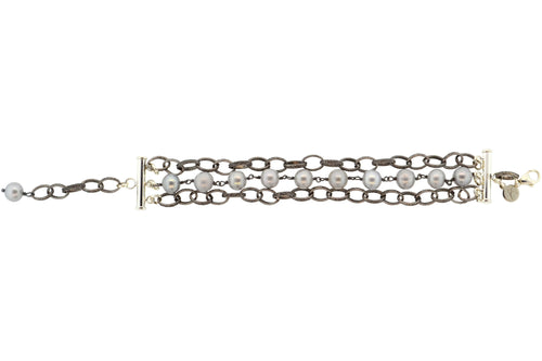 Oxidized Sterling Silver & Gray Potato Pearl 3-Strand Paris Bracelet