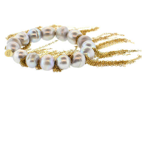 Gray Potato Pearl Stellenbosch Bracelet with Gold Fringe