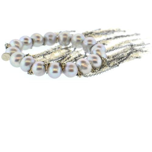 Gray Potato Pearl Stellenbosch Bracelet with Silver Fringe