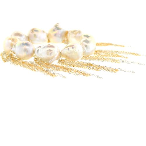 White Baroque Pearl Stellenbosch Bracelet with Sterling Silver & 14-Karat Gold Chains