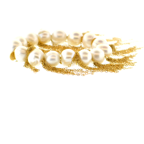 White Potato Pearl Stellenbosch Bracelet with Gold Fringe