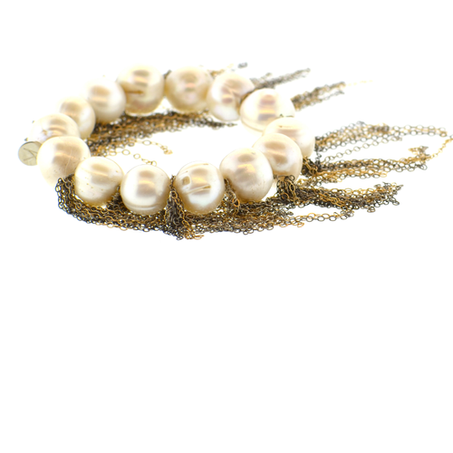 White Potato Pearl Stellenbosch Bracelet with Silver & Gold Fringe