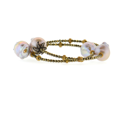 Gray Baroque Pearl & Diamond Flower Bracelet with Gold Hematite