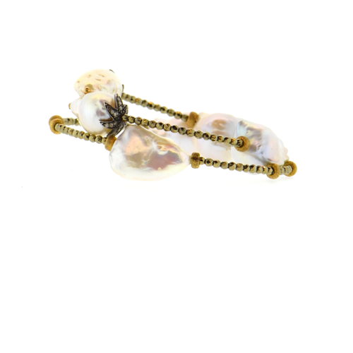 White Baroque Pearl & Diamond Flower Bracelet with Gold Hematite