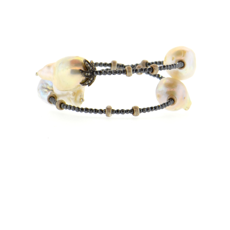 White Baroque Pearl & Diamond Flower Bracelet with Silver Hematite