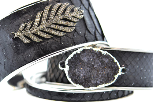Medium Black Celestial Python Cuff in Gunmetal