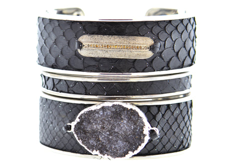 Medium Black Celestial Python Cuff in Silver