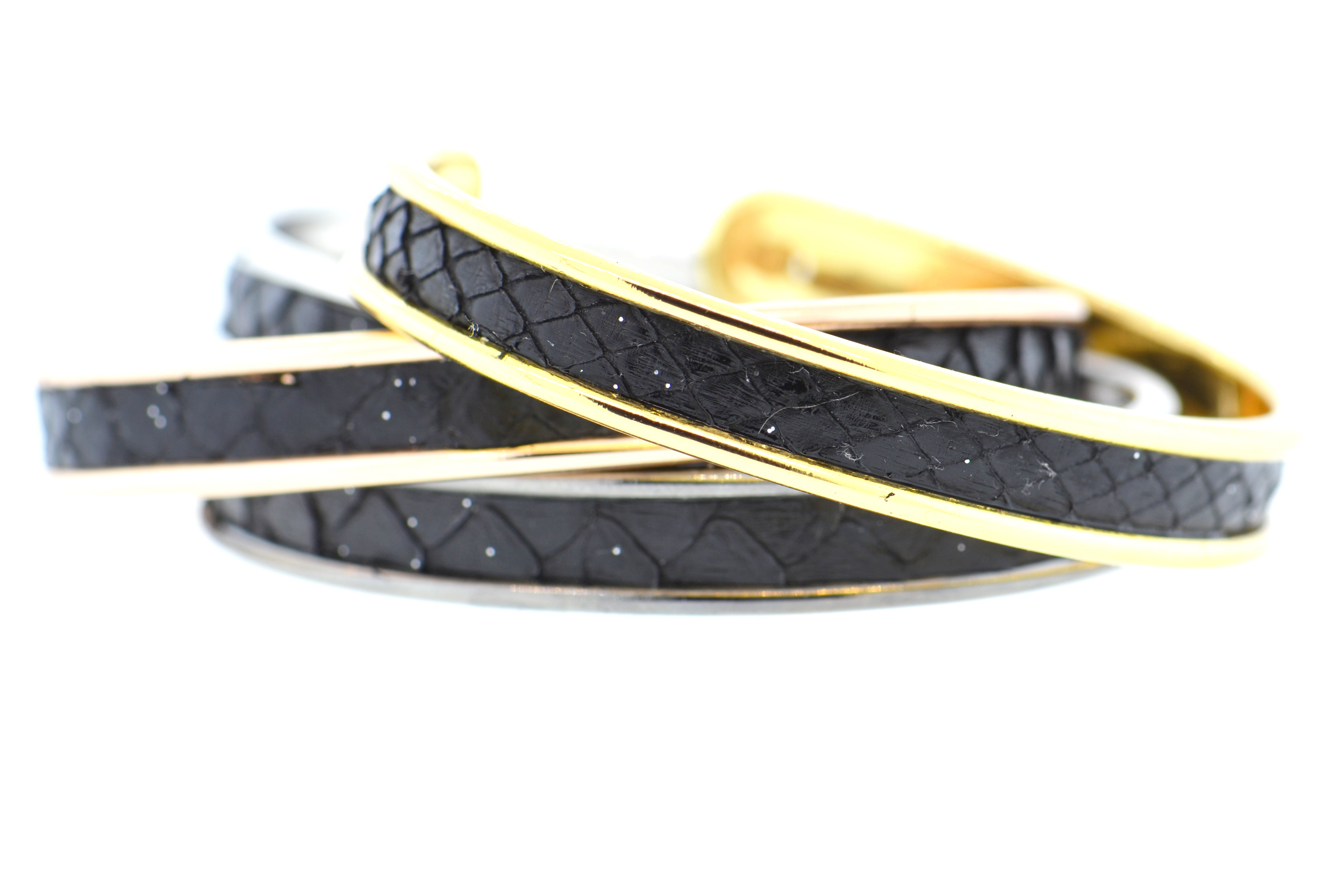 Petite Black Celestial Python Cuff in Gold