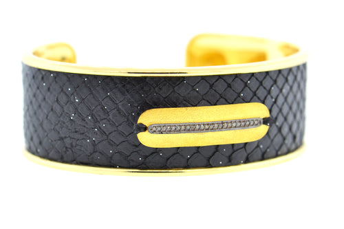 Medium Black Celestial Python Cuff in Gold