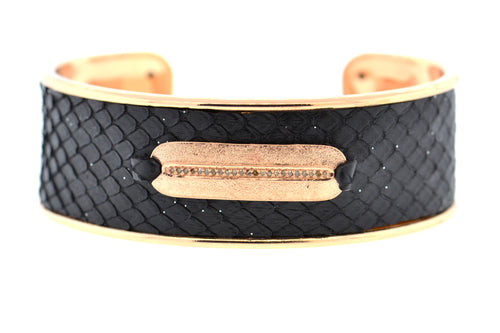 Medium Black Celestial Python Cuff in Rose Gold