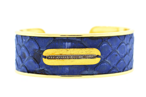 Medium Denim Python Cuff in Gold