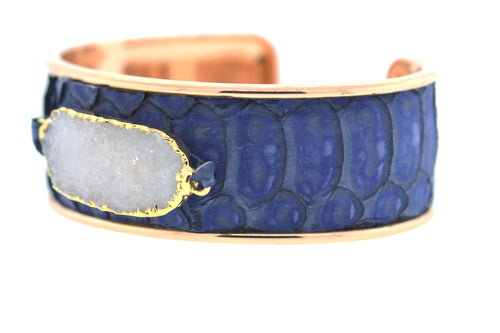 Medium Denim Python Cuff in Rose Gold
