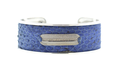 Medium Denim Python Cuff in Silver