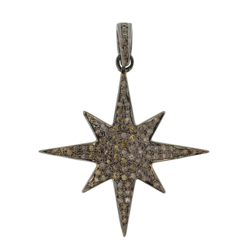 Diamond 8 Point Starburst Charm in Oxidized Sterling Silver