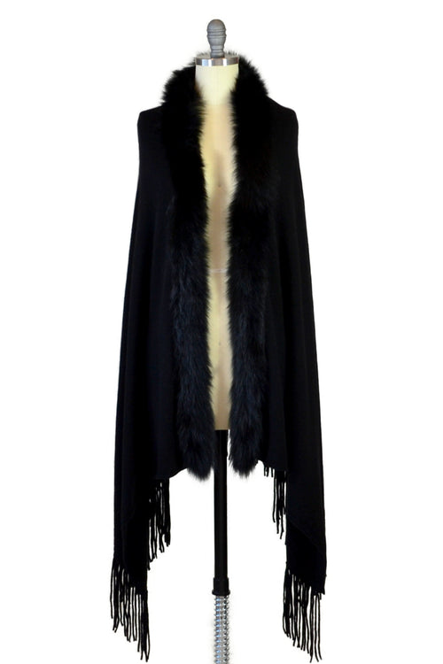 Cashmere Shawl with Long Fox Fur in Black