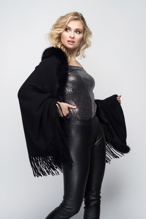 Black Cashmere Shawl with Fox Fur & Embroidered Butterflies in Black