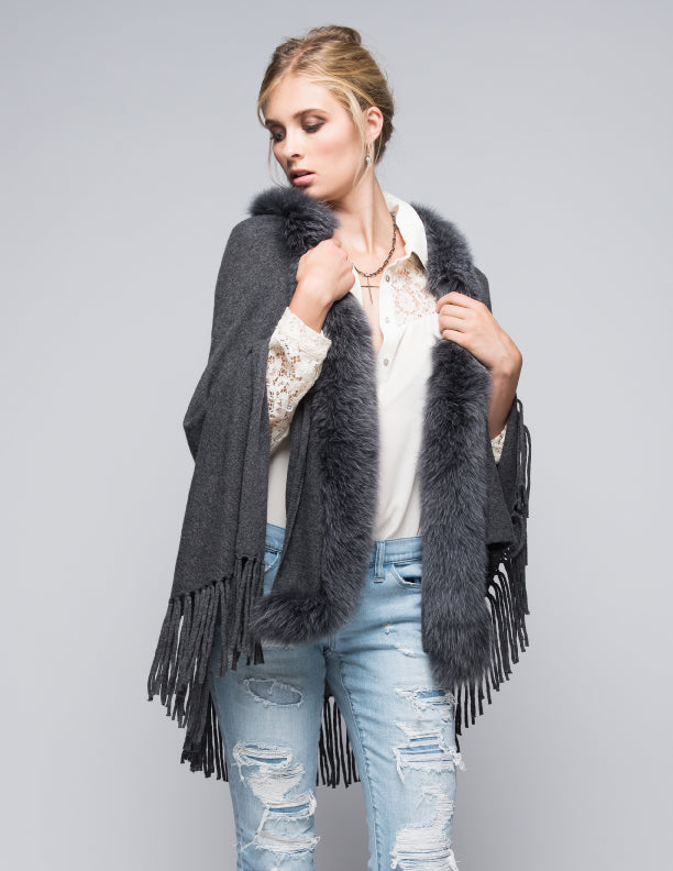 Cashmere Shawl with Long Fox Fur in Charcoal