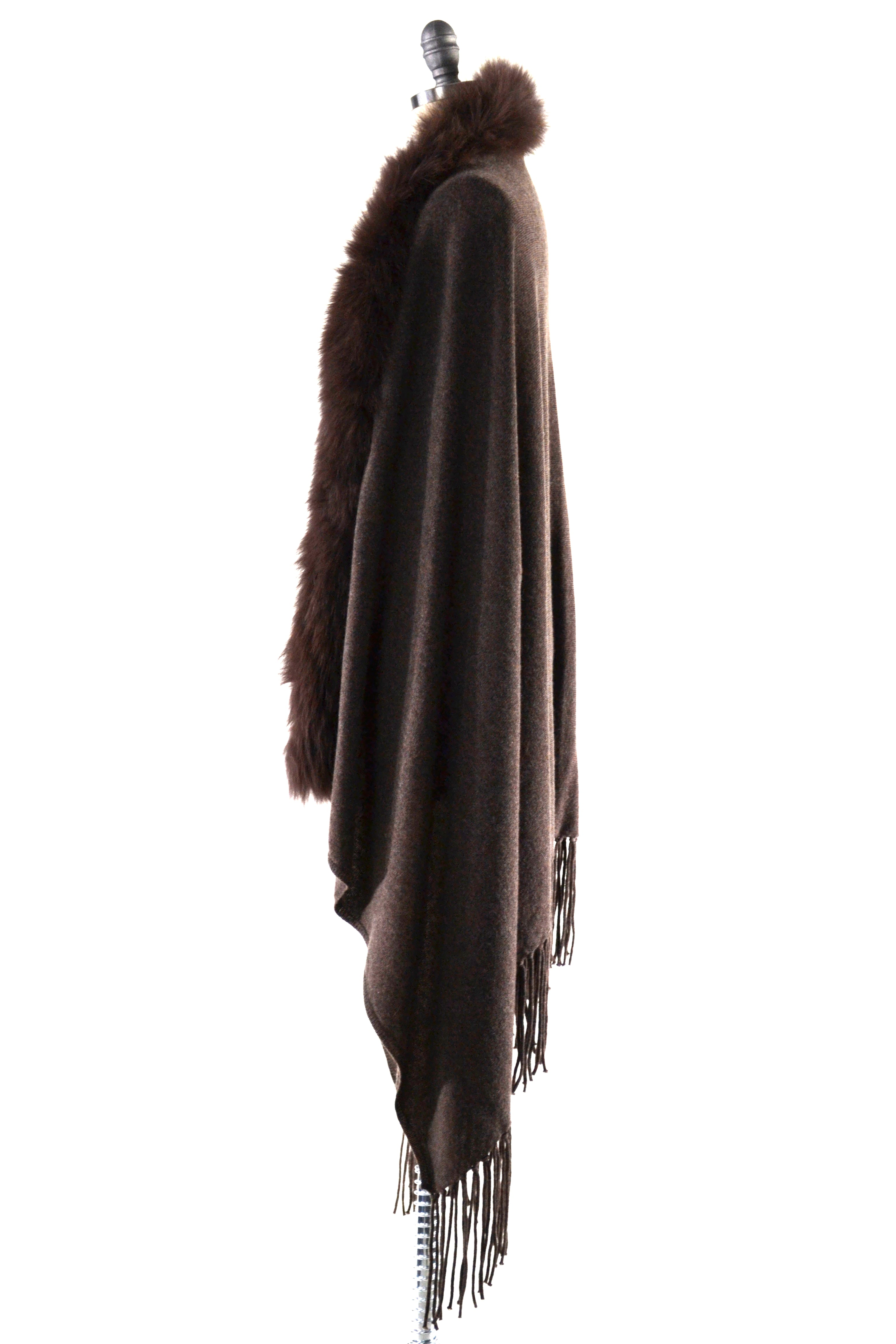 Cashmere Shawl with Long Fox Fur in Chocolate