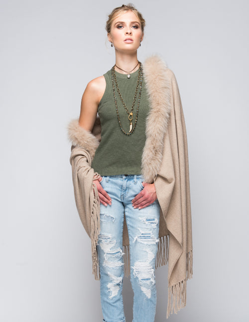 Cashmere Shawl with Long Fox Fur in Safari