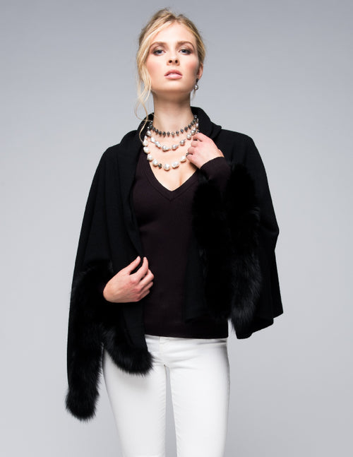 Cashmere Shawl with Double Fox Fur Trim in Black