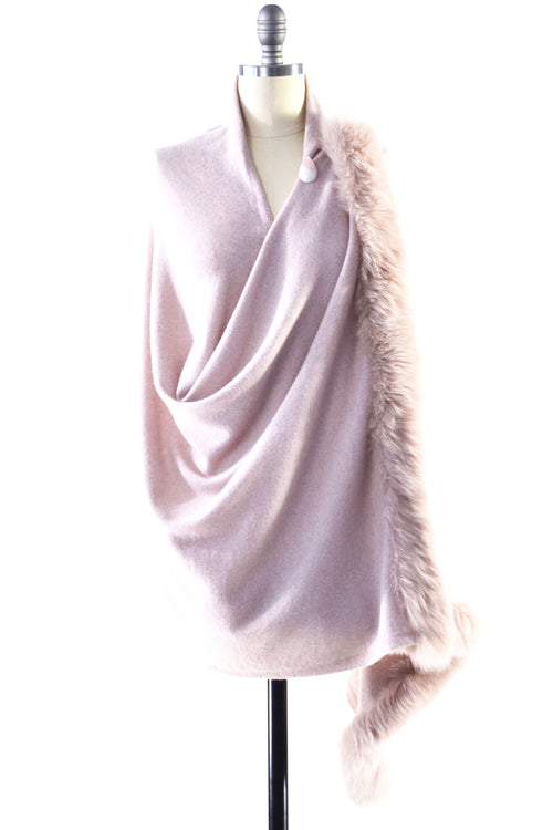 Cashmere Shawl with Double Fox Fur Trim in Blush