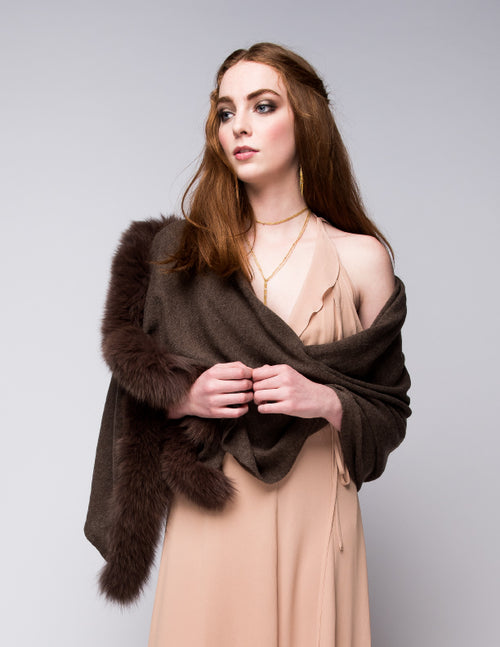 Cashmere Shawl with Double Fox Fur Trim in Chocolate