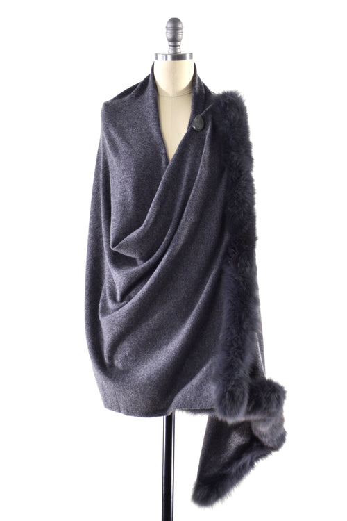 Cashmere Shawl with Double Fox Fur Trim in Charcoal