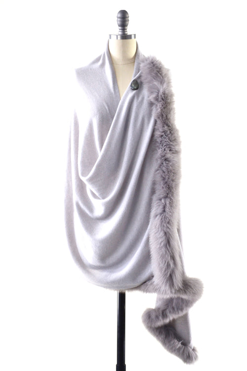Cashmere Shawl with Double Fox Fur Trim in Dove Gray